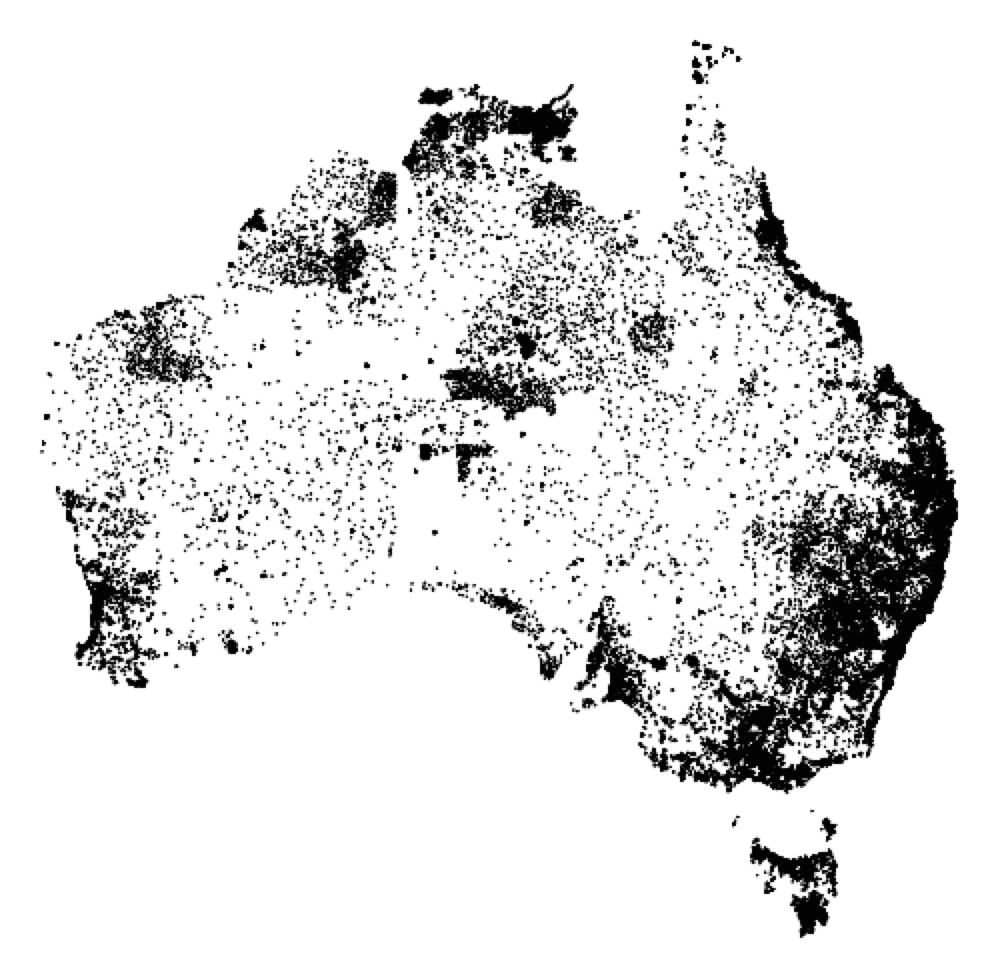 Indigenous Population Dot Map of Australia – Population Map of Australia